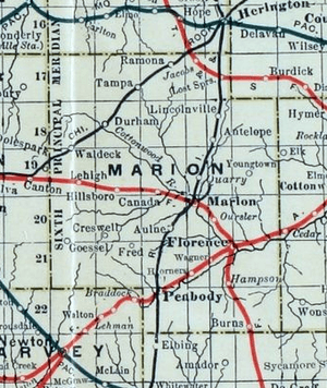 Stouffer's Railroad Map of Kansas 1915-1918 Marion County