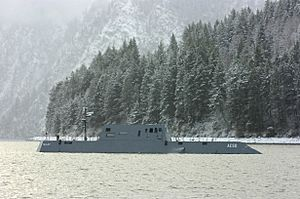 US Navy 051130-N-7676W-033 The Advanced Electric Ship Demonstrator (AESD), Sea Jet, undergoes sea trials on Lake Pend Oreille at the Naval Surface Warfare Center Carderock Division, Acoustic Research Detachment in Bayview, Idah
