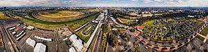 Aerial panorama of Flemington Racecourse