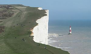 Beachy Head and Lighthouse, East Sussex, England - April 2010 crop horizon corrected
