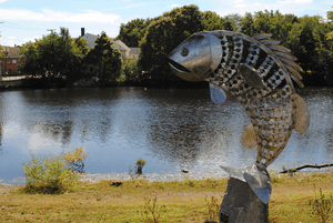 Fish sculpture at Mill Pond Park