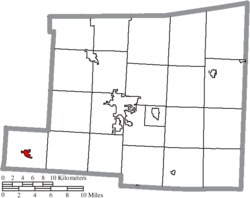 Location of Centerburg in Knox County