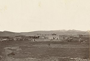 Mexican town of Cubero, New Mexico, Western Outpost on 35th Parallel, 935 miles west of Missouri River. (Boston Public Library) (cropped)