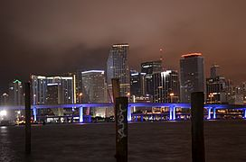 Miami Night Skyline from across the Biscayne Bay-Downtown-March 2011