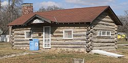 Nehawka's 1934 log cabin library is listed in the National Register of Historic Places.