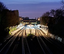 Putney Railway Station at dusk - March 2011
