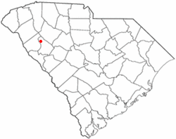 Location of Hodges, South Carolina