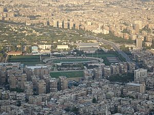 Al-Fayhaa Stadium in Damascus, Syria as seen from Mount Qasioun