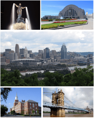 From top left to bottom right: Fountain Square, Cincinnati Children's Museum at Union Terminal, city skyline from Devou Park, McMicken Hall at University of Cincinnati, and John A. Roebling Suspension Bridge.