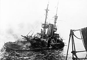 HMS Irresistible abandoned 18 March 1915