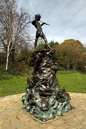 Peter Pan statue in Kensington Gardens in the City of Westminster in London, spring 2013 (12)