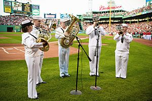 US Navy 090703-N-3271W-049 Musicians from the U.S. Navy Band Northeast Jazz ensemble perform the national anthem prior to a Boston Red Sox vs. Seattle Mariners game at Fenway Park