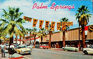 Greetings from Palm Springs - Palm Canyon Drive postcard (1950s)
