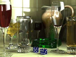 Raytraced image of several glass objects