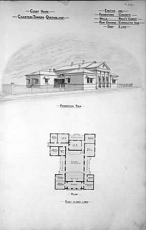 Architectural plan of the Court House, Charters Towers, 1888