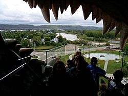 "The view out of ""World's Largest Dinosaur"" across Drumheller"