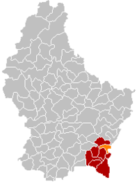 Map of Luxembourg with Stadtbredimus highlighted in orange, and the canton in dark red