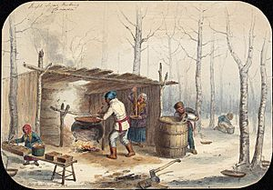 Sugar Making in Canada, 1852. By Cornelius Krieghoff (1815-1872)