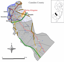 Map of the former Barclay-Kingston CDP in Camden County. Inset: Location of Camden County in New Jersey.