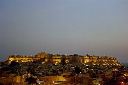 View of the Jaisalmer Fort in the evening.