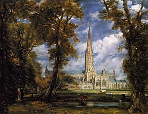 Salisbury Cathedral from the Bishop Grounds c.1825