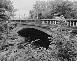 The Frankford Avenue bridge over the Poquessing Creek bordering Torresdale