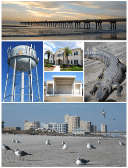 Images from top, left to right: Jacksonville Beach Pier, water tower, Jacksonville Beach City Hall, Sea Walk Pavilion, Adventure Landing, Jacksonville Beach