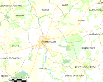 Map of the commune of Montmorillon
