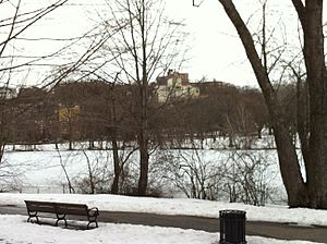 Overlooking Leverett Pond in Olmsted Park from the Brookline, MA side