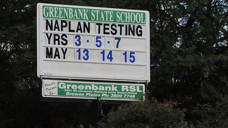 Sign announcing NAPLAN tests, Greenbank State School, 2014