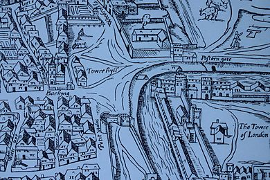 Tower Hill as shown on the Agas map of 1561