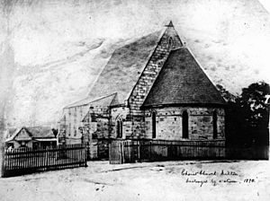 Christ Church at Milton before it was destroyed by a storm in 1890