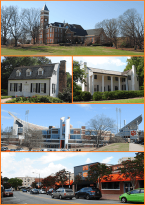 Top, left to right: Tillman Hall, Hanover House, Fort Hill, Memorial Stadium, College Avenue