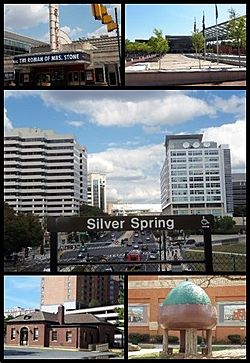 Clockwise from top: AFI Silver, Veteran's Plaza and the civic building, Downtown Silver Spring from the Metro station, Acorn Park, Baltimore and Ohio Railroad Station
