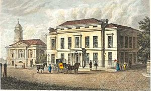 The Assembly Rooms and Trinity Church in Halifax from A Complete History of the County of York by Thomas Allen (1828-30)