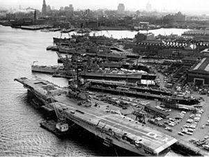 Aerial view of the Boston Naval Shipyard in April 1960