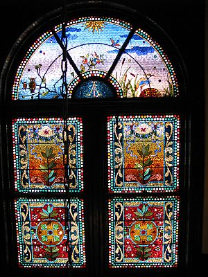 Belcher stained glass mosaic window