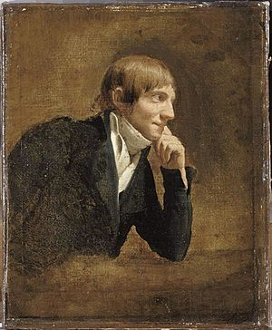 An oil on canvas in brown tones of a white man with short brown hair. He is sitting side-on, facing to the right of the picture, with his chin on his left hand. He wears a frock coat and shirt with a wide neck tie. He has a faint smile.