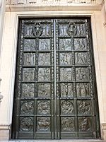 Right hand bronze door at the Cathedral of St John the Divine, New York