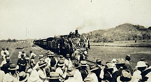StateLibQld 2 239722 Greeting the officials train at Mount Isa, western Queensland