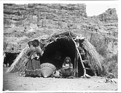 Two Havasupai Indian women in front of a native dwelling, Havasu Canyon, ca.1899 (CHS-3791)