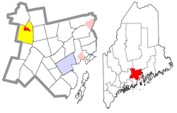 Location of Unity (in red) in Waldo County and the state of Maine