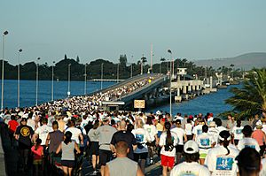 Military and civilian runners crossing the Admiral Clarey Bridge during the 2006 Ford Island 10k Bridge Run at Pearl Harbor