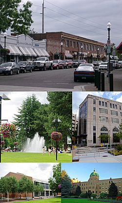 From top: Downtown Beaverton along Broadway, Beaverton City Fountain Park, City Hall, Beaverton City Library, Sisters of St. Mary of Oregon
