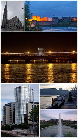 A montage of Limerick. From top, left to right: St. John's Cathedral, King John's Castle, The Clayton Hotel, Riverpoint, Treaty Stone and the University Concert Hall at the University of Limerick.