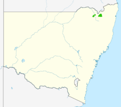 A map of New South Wales showing the range in green