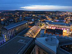 Sheffield skyline by night as viewed from St Paul's Tower. Comprising briefly: Mercure St Pauls Hotel, Sheffield Winter Garden, The Lyceum Theatre, The Crucible Theatre. Photo taken: June 2013.