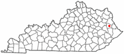Location of Paintsville, Kentucky