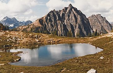 Mount Hardy with Upper Snowy Lake in August 1993.jpg