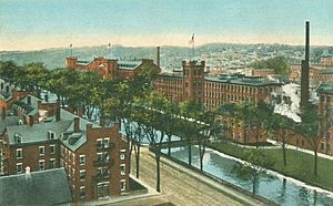 Birds-eye View of Mills & Canal, Lewiston, ME